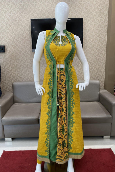 Mustard and Olive Green Applique work Overcoat Style Anarkali Suit - View 1