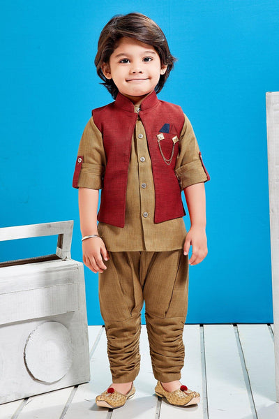 Brown and Rust Plain Kurta With Waist Coat For Boys - View 1