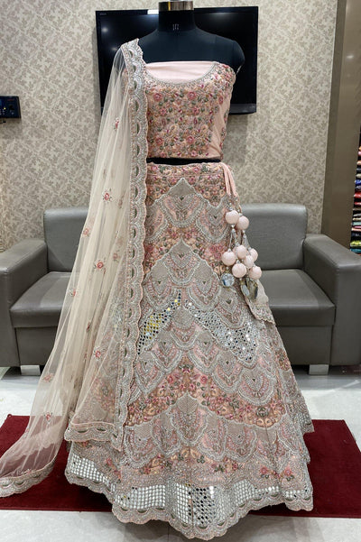 Baby Pink Mirror, Stone and Threadwork Semi-Stitched Designer Lehenga - View 1