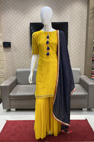Yellow Lucknowi Threadwork with Navy Blue Dupatta Sharara Suit Set