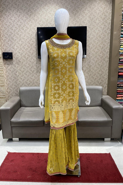 Mustard Yellow Zardosi and Beadworks Sharara Suit Set - 1
