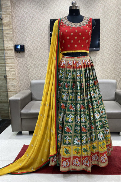 Red and Green Patola Weave Crop Top Lehenga  - 1