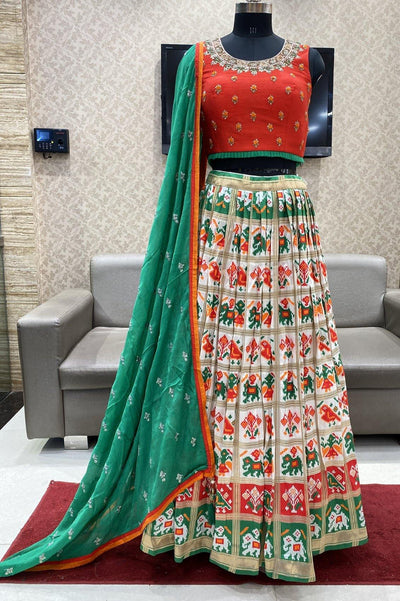 Red and White Patola Weave Crop Top Lehenga - View 1
