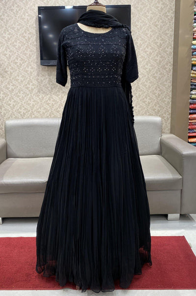 Black with Thread and Stone Work Floor Length Anarkali Suit - View 1
