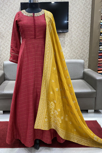 Red and Mustard Floral Print and Zardosi Work Floor Length Anarkali Suit - 1