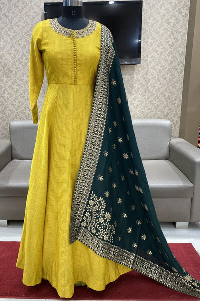 Yellow and Bottle Green Floral Print and Zardosi Work Floor Length Anarkali Suit - 1