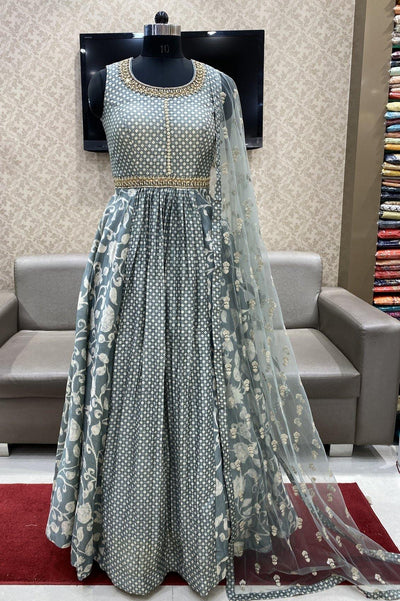 Grey Stone and Pearl Work Floor Length Anarkali Suit - 1