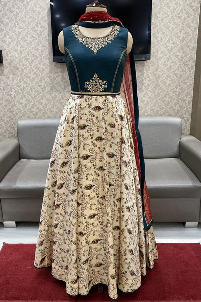Dark Blue and Cream Zardosi and Floral Print Anarkali - View 1