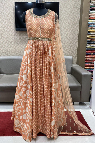 Peach Stone and Pearl Work Floor Length Anarkali Suit - View 1