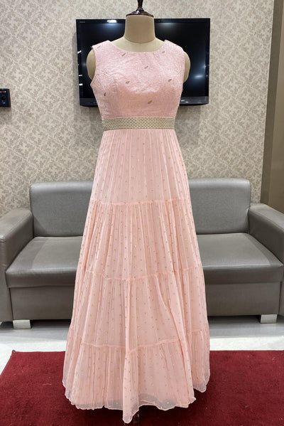 Baby Pink Thread and Bead Work Floor Length Anarkali Suit - View 1