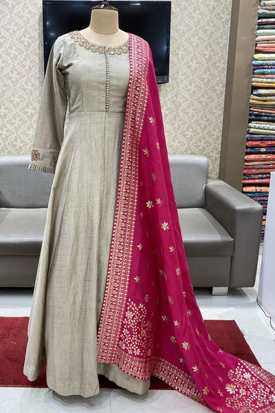 Grey with Rani Pink Floral Print and Zardosi Work Floor Length Anarkali Suit - View 1