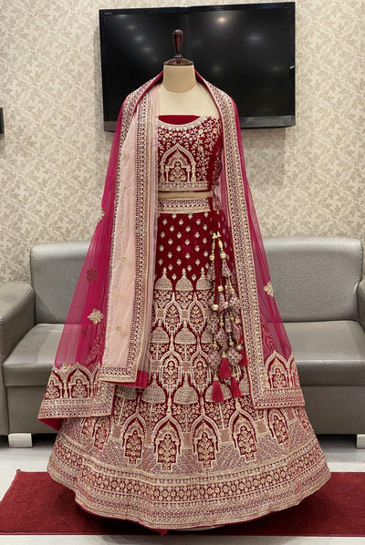Red Aari and Stonework Semi-Stitched Designer Bridal Lehenga with Two Dupatta - View 1