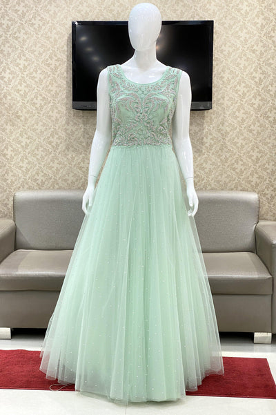 Mint Green Bridal And Partywear Gown Embellished with Stonework