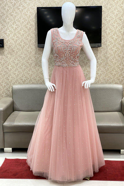 Baby Pink Bridal And Partywear Gown Embellished with Stonework