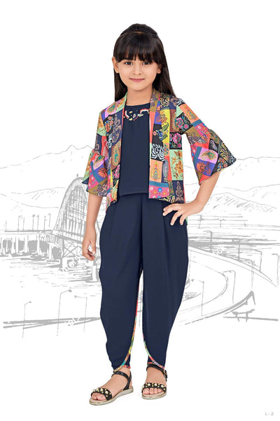 Navy Blue Printed Dhoti Styled Casualwear for Girls  - View 1