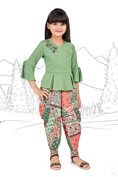 Pastel Green Threadwork and Printed Dhoti Styled Casualwear for Girls - View 1
