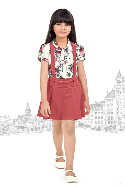 Rust Printed Shirt and Dungaree Style Skirt Casualwear for Girls  - View 1