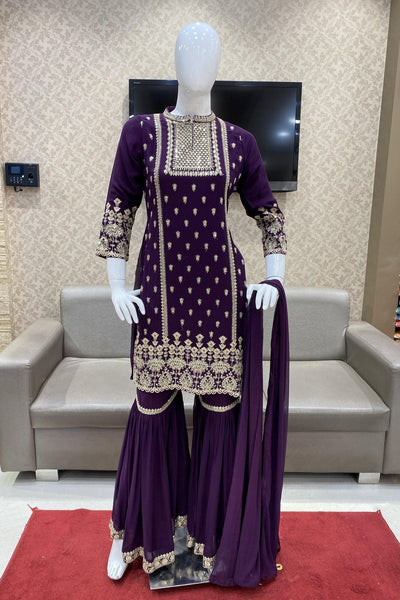 Violet Sequins and Threadwork Sharara Suit Set - View 1