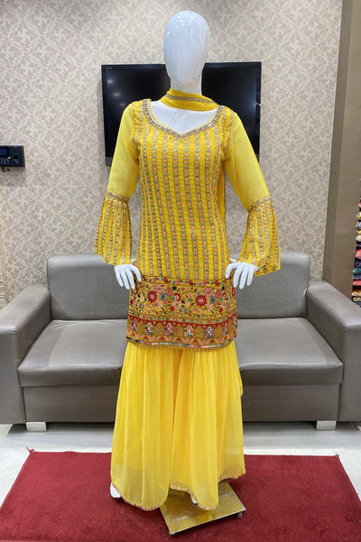 Yellow Mirror and Handwork Sharara Suit Set - 1