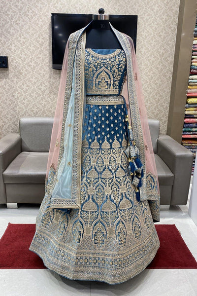 Blueish Grey Aari and Stonework Semi-Stitched Designer Bridal Lehenga with Two Dupatta - View 1