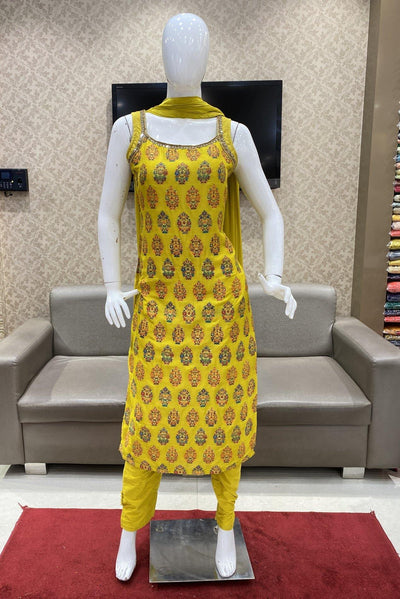 Yellow with Multicolor Weave and Mirror work Salwar Suit Set - 1