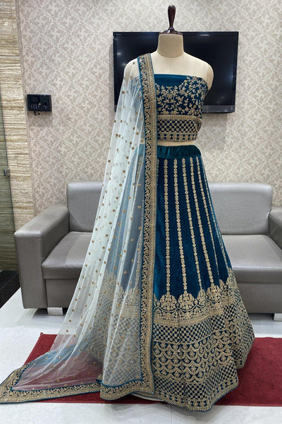 Peacock Green Aari and Stonework Semi-Stitched Designer Bridal Lehenga - 1