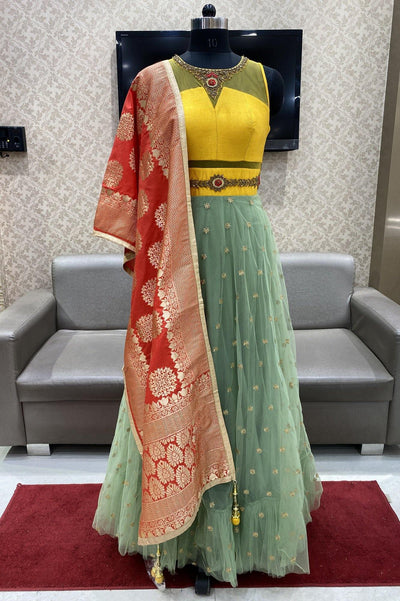 Yellow and Pastel Green Floor Length Anarkali with Brocade Dupatta - 1