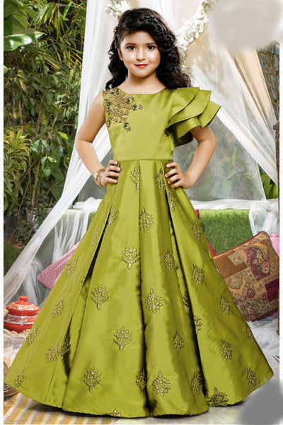 Olive Green Embroidery work Floor Length Party Gown for Girls - 1