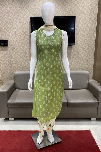 Olive Green with Cream Straight Pant Floral Print Salwar Suit - 1