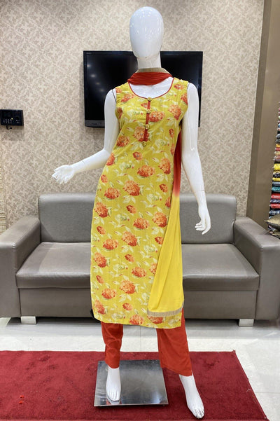 Yellow Floral Print with Brick Red Pant Straight Cut Salwar Suit - 1