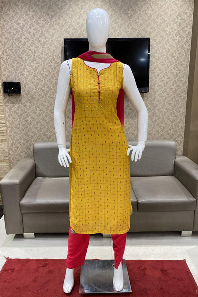 Yellow and Red Straight Cut Salwar Suit - 1