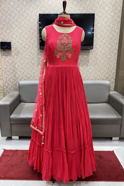 Rani Pink with Zardosi Work Floor Length Anarkali Suit - 1