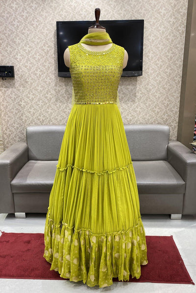 Yellow with Mirror and Zardosi Work Floor Length Anarkali Suit - 1