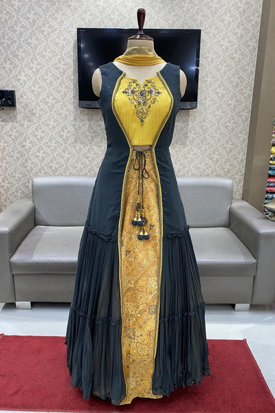 Mustard with Dark Grey Overcoat Style and Zardosiwork Anarkali Suit - 1