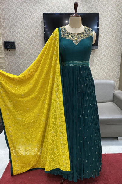 Dark Green Thread and Stonwork  Anarkali Suit with a Grand Lucknowi Dupatta - 1