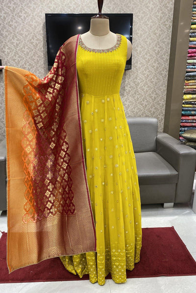 Yellow with Banaras Dupatta Floor Length Georgette Anarkali Suit - 1