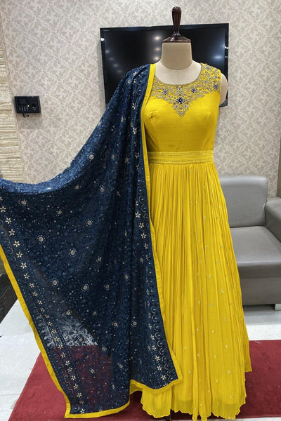 Yellow Thread and Stonework  Anarkali Suit with a Grand Lucknowi Dupatta - 1