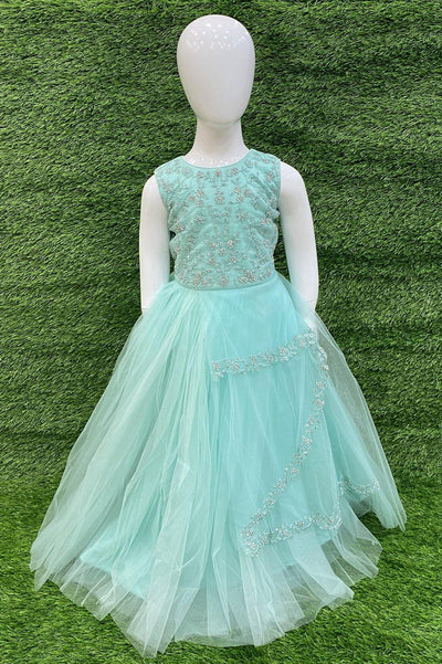Blue Stone and Threadwork Long Party Gown for Girls - 1