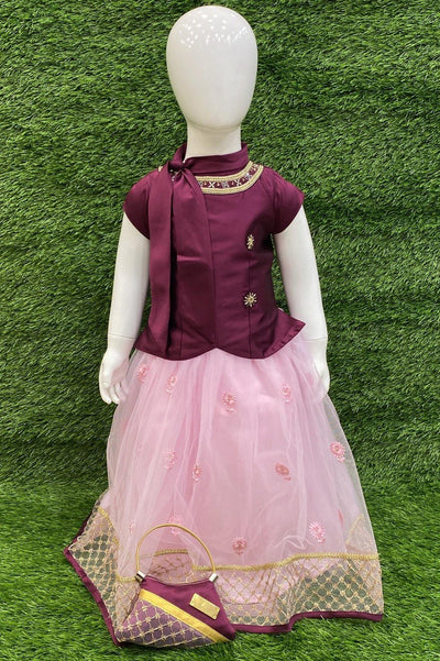 Wine and Pink Stonework Lehenga Choli for Girls - 1