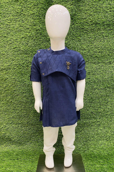 Navy Blue and White Boys Kurta Pajama Set - 1