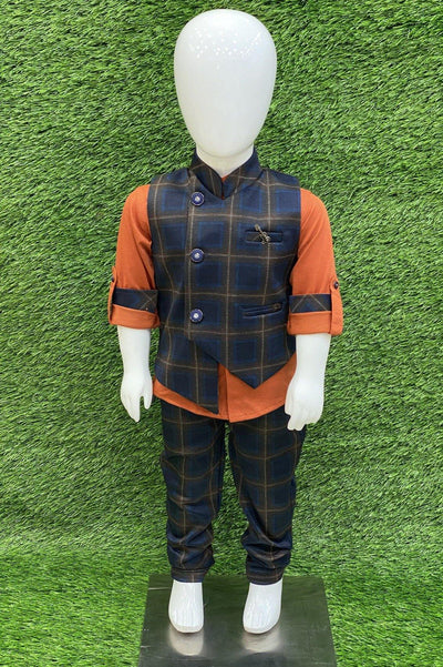 Orange with Navy Blue and Brown Checked Waist Coat and Pant Set for Boys - 1