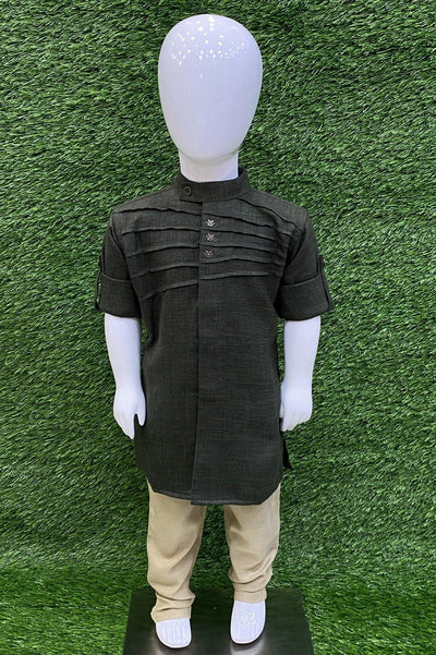 Dark Green and Beige Boys Kurta Set - 2