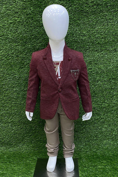 Maroon Overcoat with White Printed T-shirt and Beige Pant Set For Boys - 1