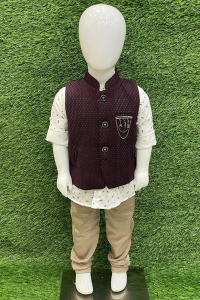 Wine Waist Coat with Cream Printed Shirt and Beige Pant Set for Boys - 1