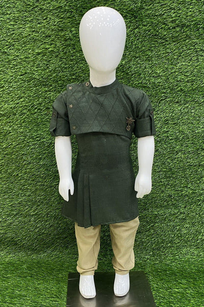 Pine Green and Beige Pajama Boys Kurta - 1