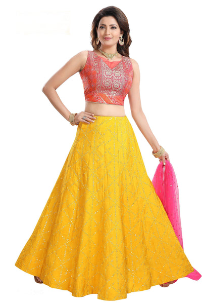 Yellow, Orange Brocade and Mirror Work Crop Top Lehenga - View 1
