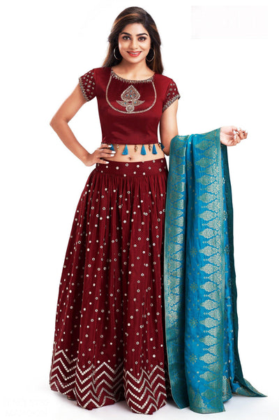 Maroon Zardosi and Mirrorwork Crop Top Lehenga with Brocade Dupatta - 1