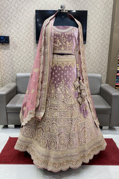 Onion Pink Aari and Stonework Semi-Stitched Designer Bridal Lehenga with Two Dupatta
