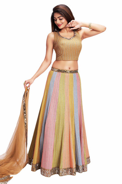 Gold with Multicolor Lehenga with Mirror work Crop Top Lehenga - 1