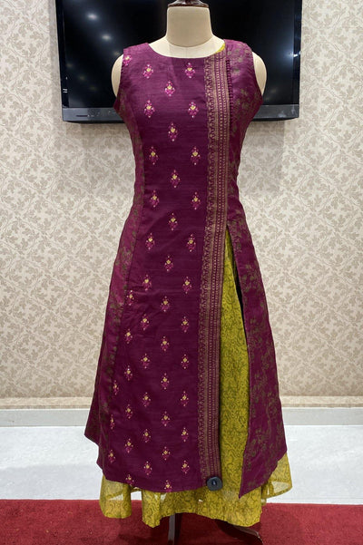 Wine with Yellow Block Print and Threadwork Long Kurti - 1